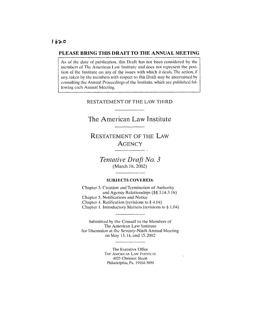 handle is hein.ali/rethrida0017 and id is 1 raw text is: PLEASE BRING THIS DRAfrT TO TIlE ANNUAL MEETING