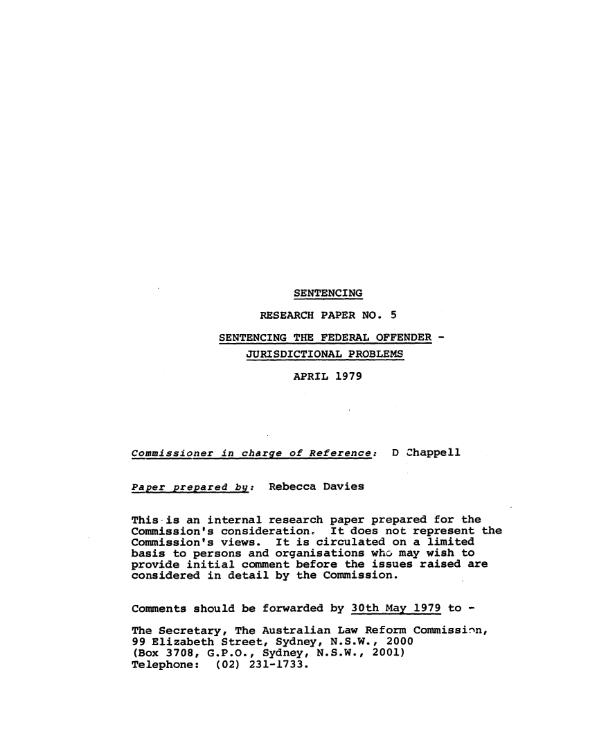 handle is hein.alrc/senfedoff0001 and id is 1 raw text is: SENTENCING