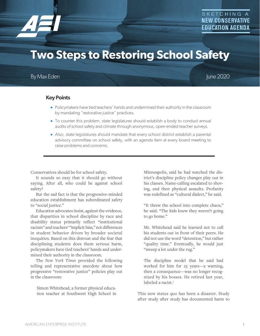 Two Steps To Restoring School Safety V 1