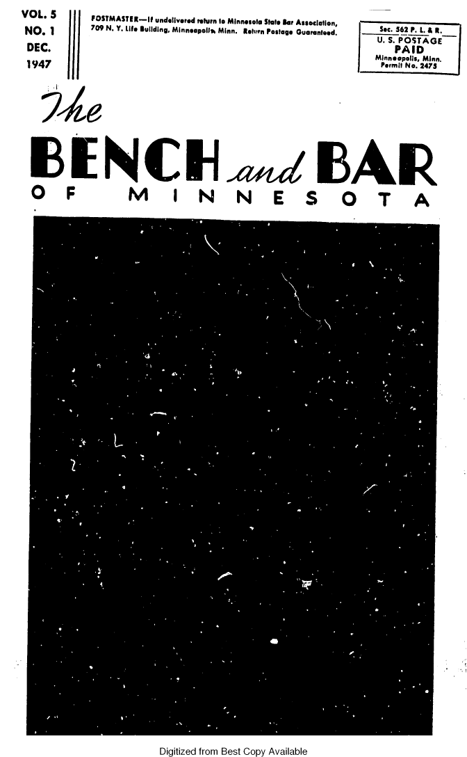 handle is hein.barjournals/benchnbar0005 and id is 1 raw text is: FOSTMASTER-If undelivered return to Minnesota State Bar Association,