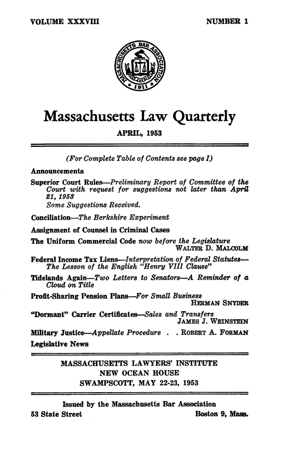 handle is hein.barjournals/malr0038 and id is 1 raw text is: VOLUME XXXVIII