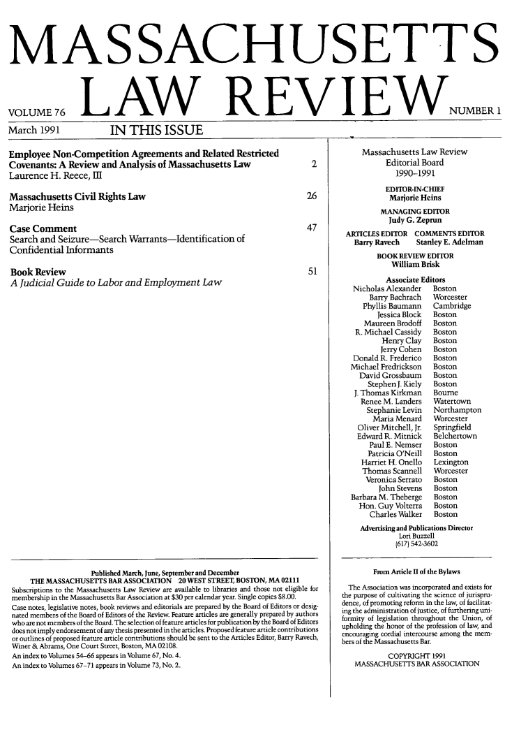 handle is hein.barjournals/malr0076 and id is 1 raw text is: MASSACHUSETTS