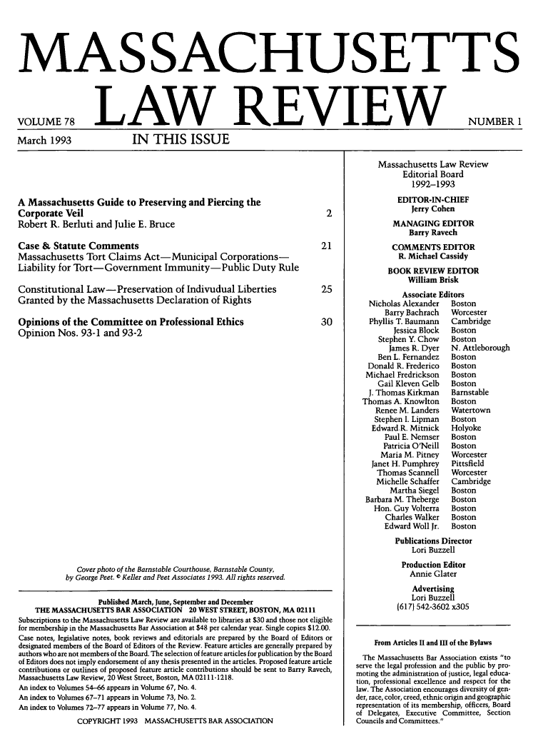 handle is hein.barjournals/malr0078 and id is 1 raw text is: MAS SACHUSETTS