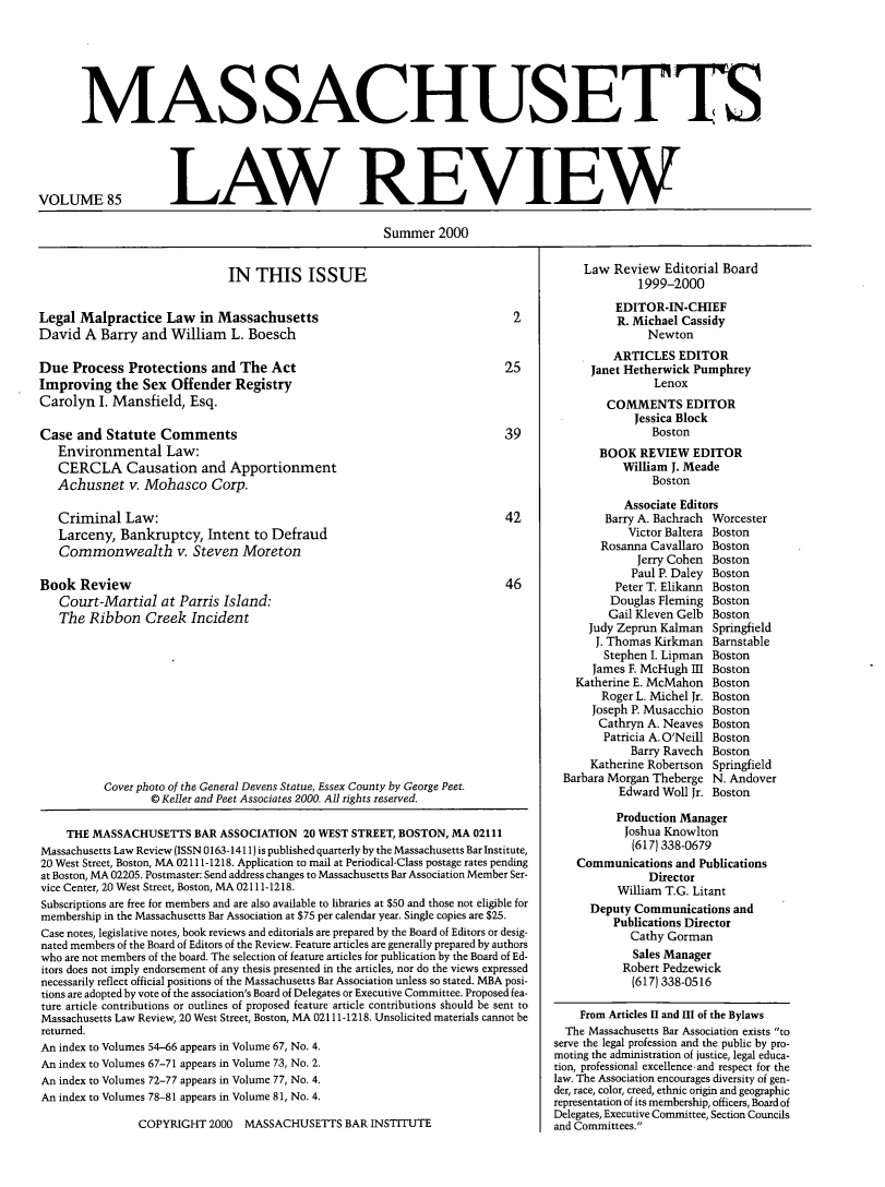 handle is hein.barjournals/malr0085 and id is 1 raw text is: MASSACHUSET S
