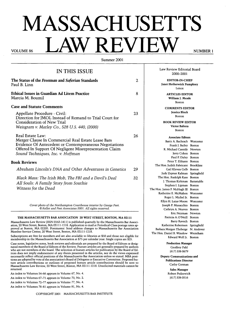 handle is hein.barjournals/malr0086 and id is 1 raw text is: MASSACHUSETTS