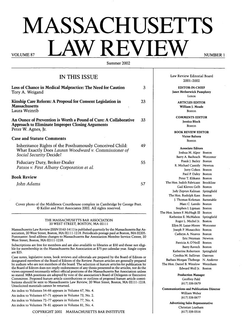 handle is hein.barjournals/malr0087 and id is 1 raw text is: MASSACHUSETTS