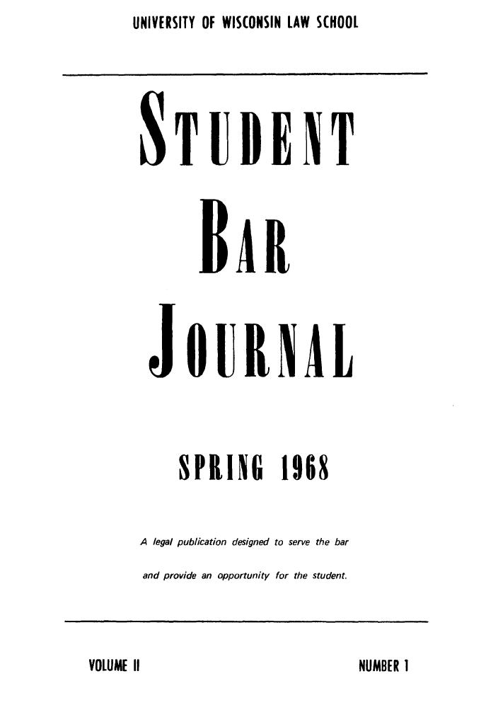 Wisconsin Student Bar Journal V  2