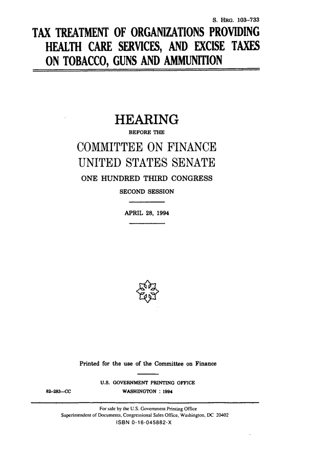 handle is hein.cbhear/cbhearings6408 and id is 1 raw text is: S. HRG. 103-733