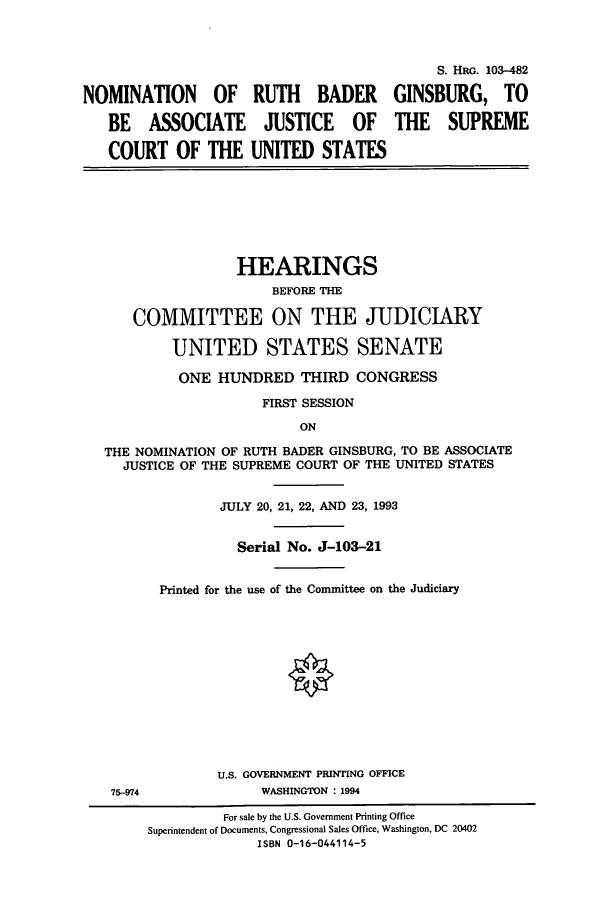 handle is hein.cbhear/cbhearings6482 and id is 1 raw text is: NOMINATION OF RUTH BADER