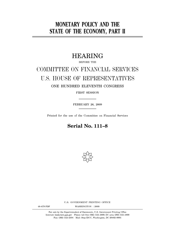 handle is hein.cbhear/cbhearings95112 and id is 1 raw text is: MONETARY POLICY AND THE