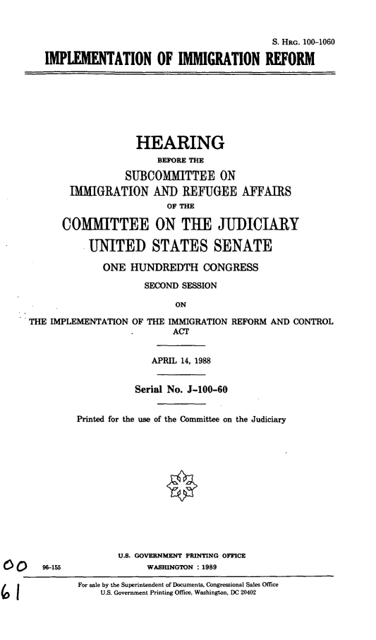 handle is hein.cbhear/implimmi0001 and id is 1 raw text is: S. HRG. 100-1060