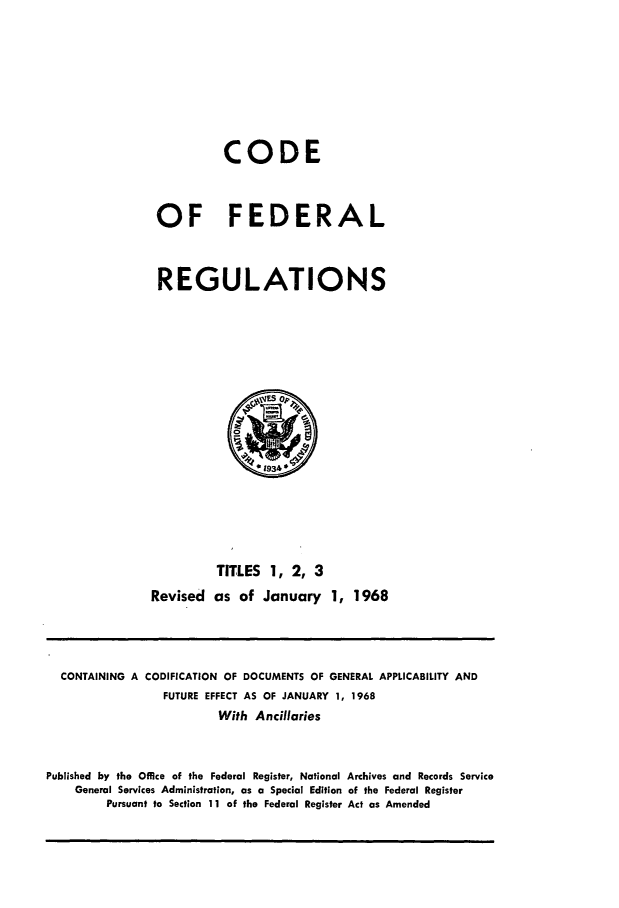 handle is hein.cfr/cfr1968002 and id is 1 raw text is: CODE