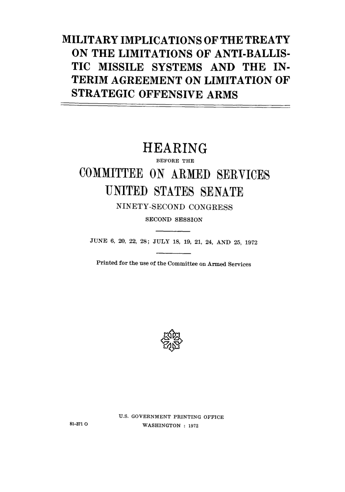 Military Implications Of The Treaty On The Limitations Of Anti