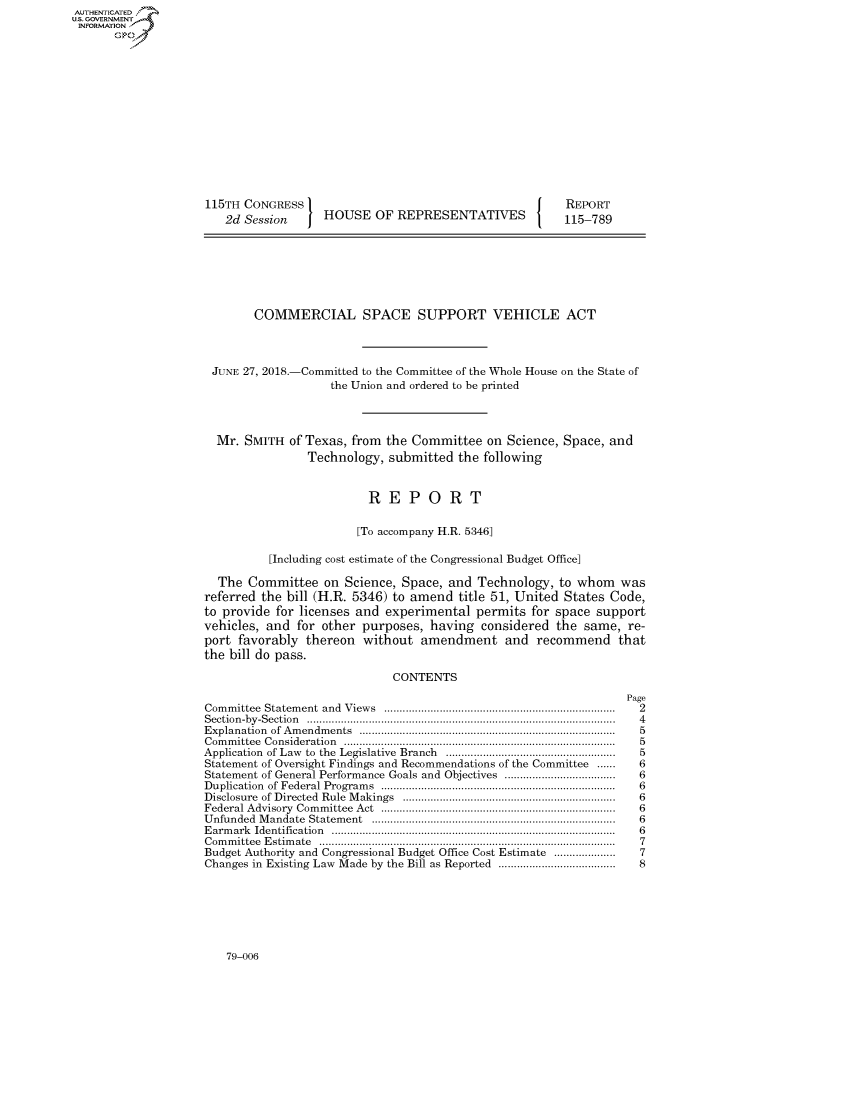 COMMERCIAL SPACE SUPPORT VEHICLE ACT V  H  Rept  115-789