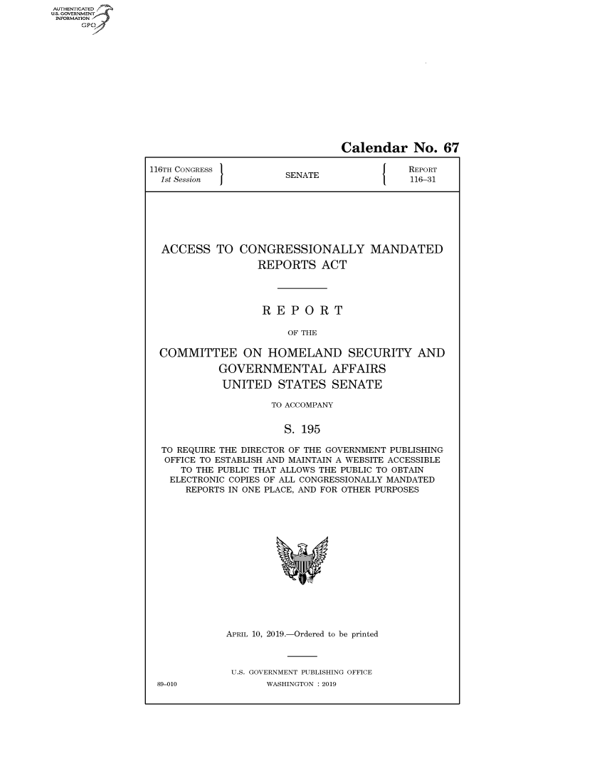 handle is hein.congrecreports/crptxachm0001 and id is 1 raw text is: AUTHENTICATEO