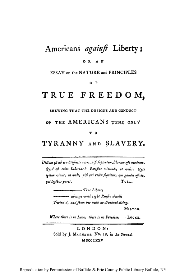 americans against liberty or an essay on the nature and  what is