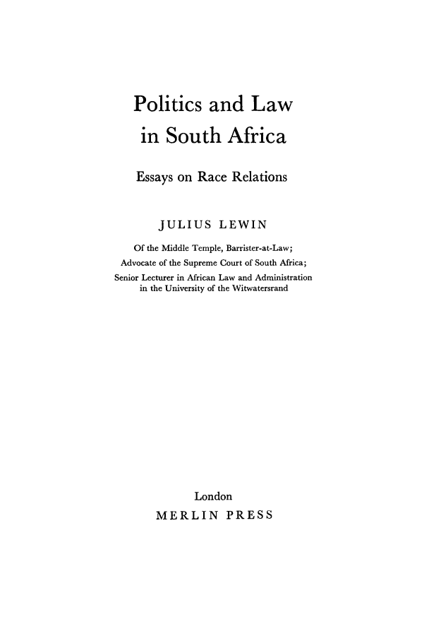 Politics And Law In South Africa Essays On Race Relations V  Handle Is Heincowposaerr And Id Is  Raw Text Is Politics English Learning Essay also College Essay Papers  Essay Good Health