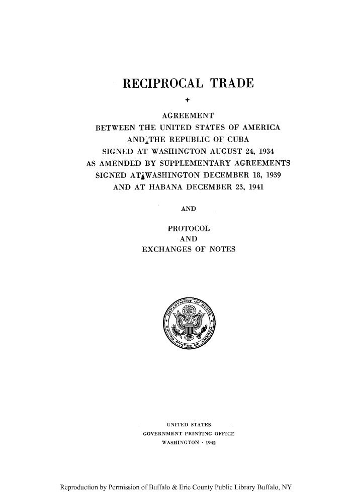 Reciprocal Trade Agreement Between The United States Of America And