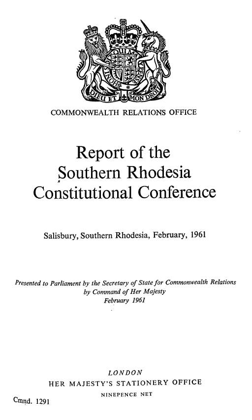 Report of the Southern Rhodesia Constitutional Conference
