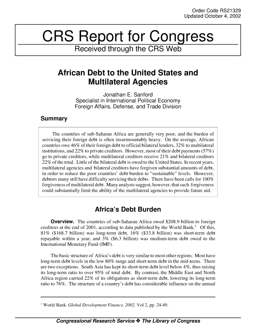 handle is hein.crs/crsahzn0001 and id is 1 raw text is: Order Code RS21329