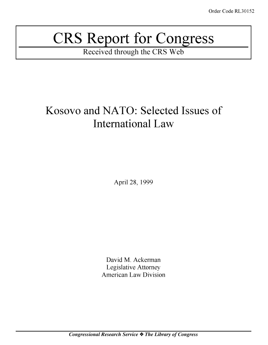 handle is hein.crs/crsuntaacon0001 and id is 1 raw text is: Order Code RL30152