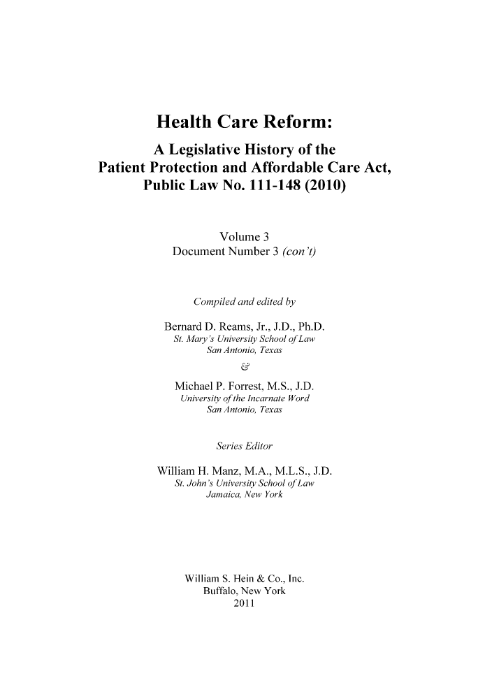 handle is hein.hcr/healcar0003 and id is 1 raw text is: Health Care Reform: