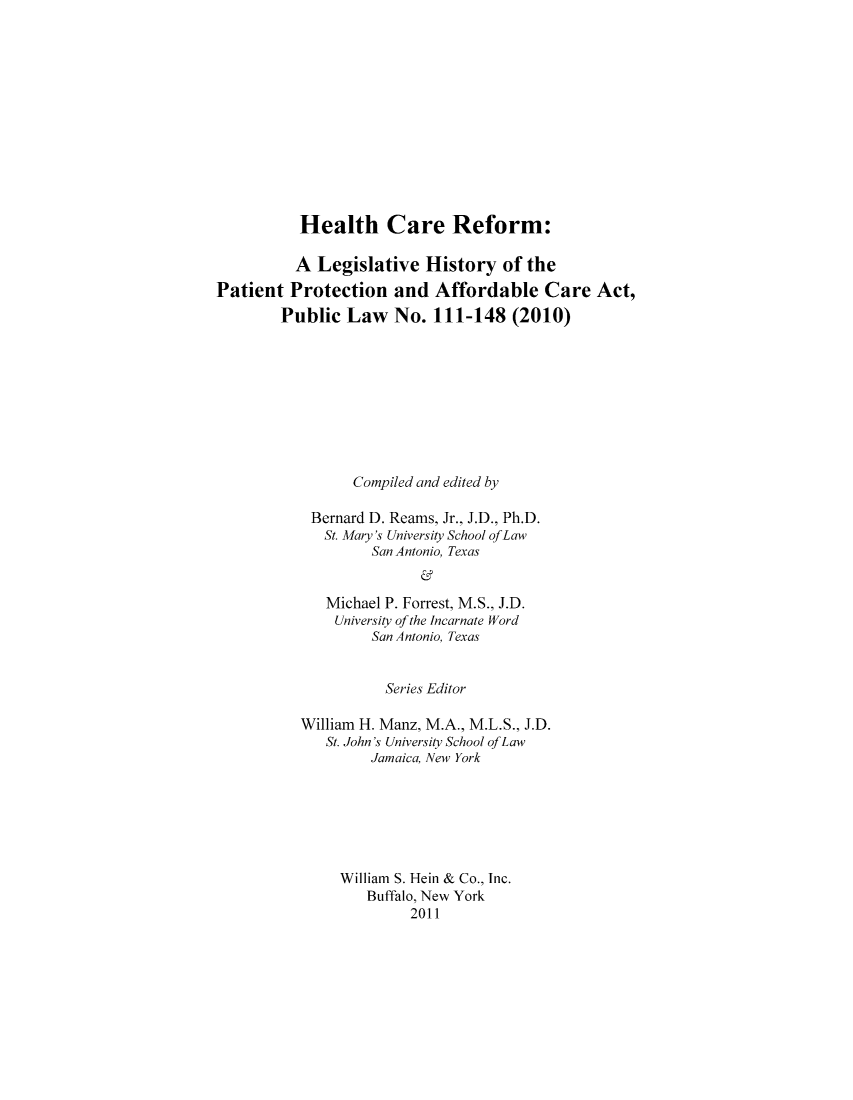 handle is hein.hcr/healcar0016 and id is 1 raw text is: Health Care Reform: