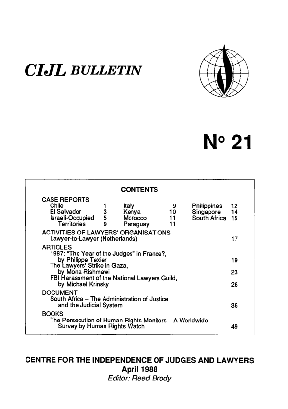 handle is hein.icj/cijlbul0021 and id is 1 raw text is: CIJL BULLETIN