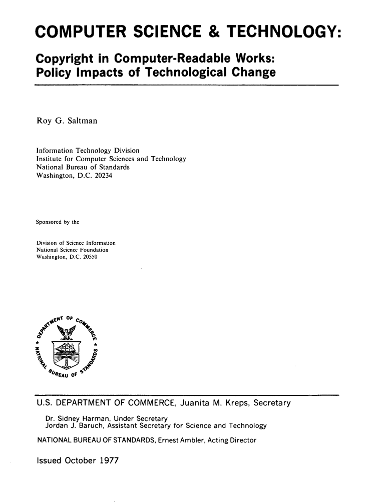 Computer science technology copyright in computer readable works policy impacts of - Div computer science ...