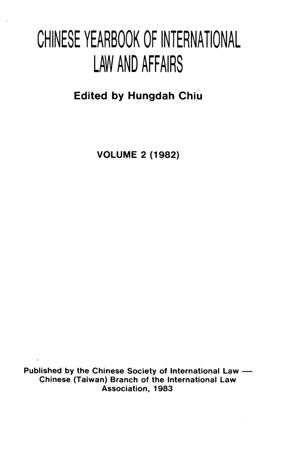 handle is hein.intyb/chiyraff0002 and id is 1 raw text is: CHINESE YEARBOOK OF INTERNATIONAL