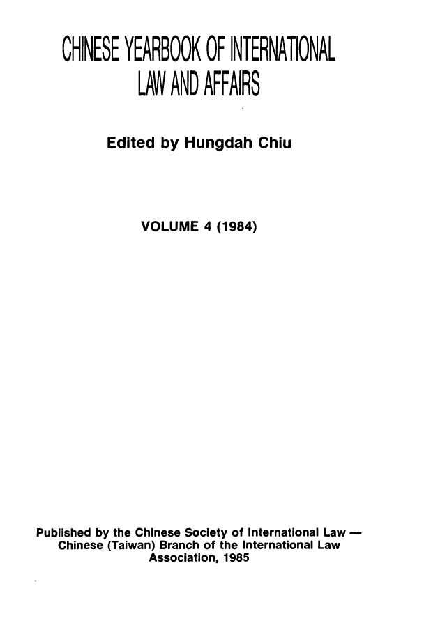 handle is hein.intyb/chiyraff0004 and id is 1 raw text is: CHINESE YEARBOOK OF INTERNATIONAL
