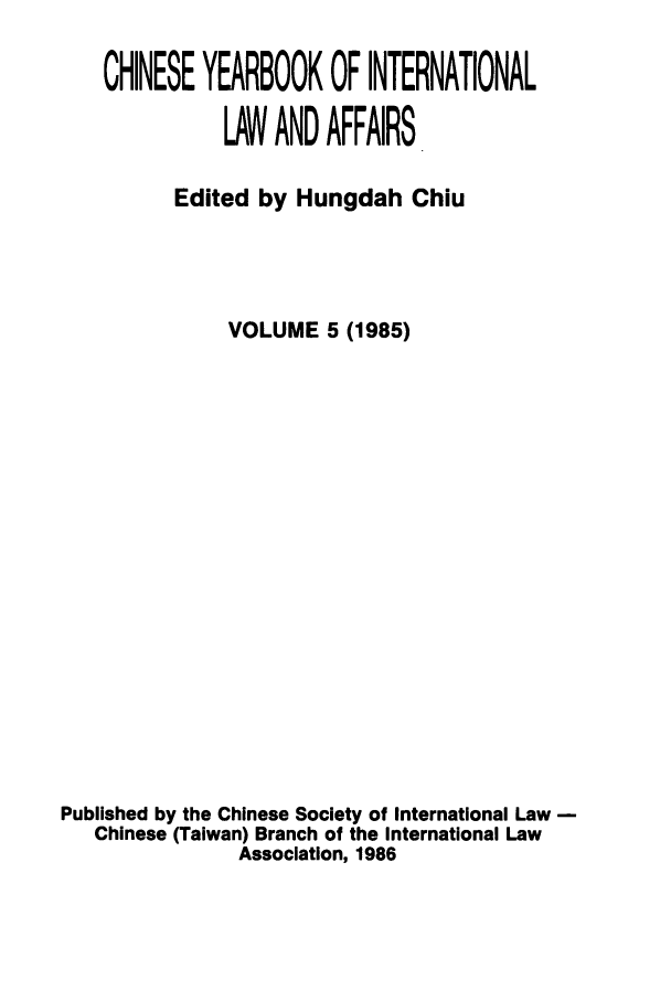 handle is hein.intyb/chiyraff0005 and id is 1 raw text is: CHINESE YEARBOOK OF INTERNATIONAL