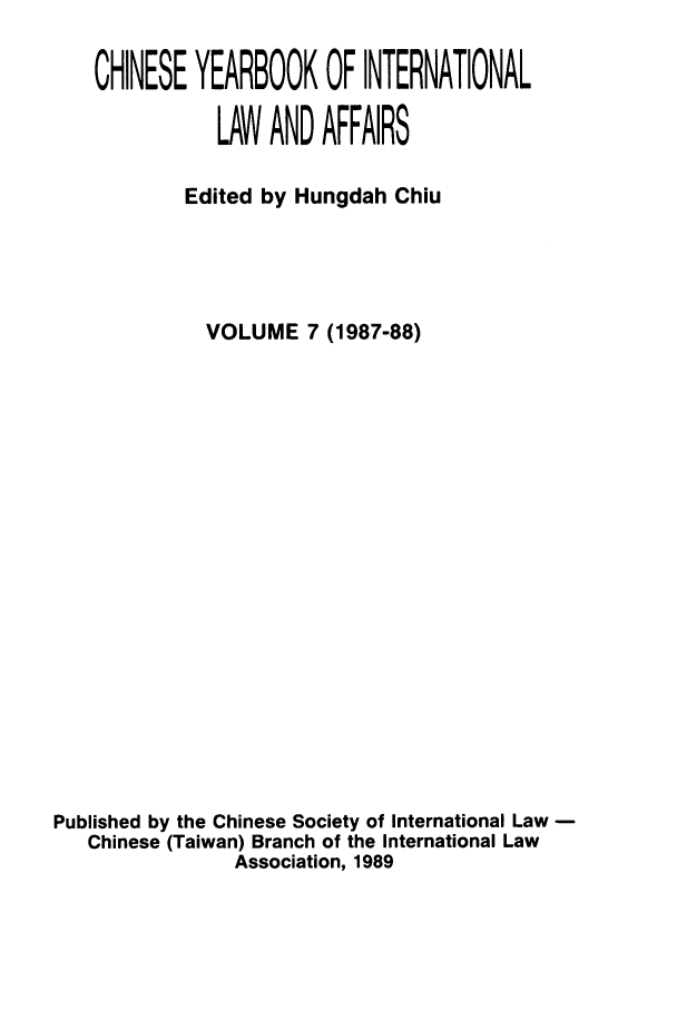 handle is hein.intyb/chiyraff0007 and id is 1 raw text is: CHINESE YEARBOOK OF INTERNATIONAL