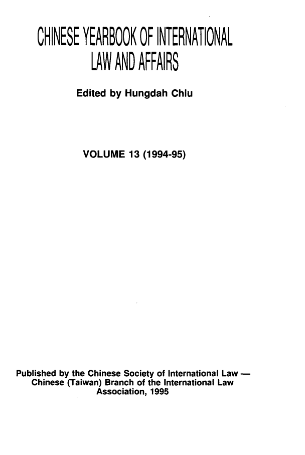 handle is hein.intyb/chiyraff0013 and id is 1 raw text is: CHINESE YEARBOOK OF INTERNATIONAL