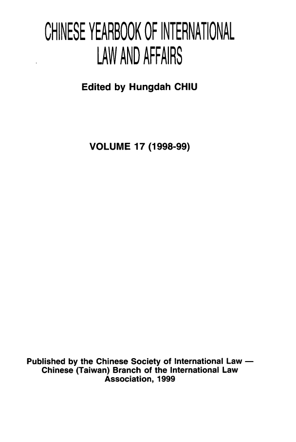 handle is hein.intyb/chiyraff0017 and id is 1 raw text is: CHINESE YEARBOOK OF INTERNATIONAL