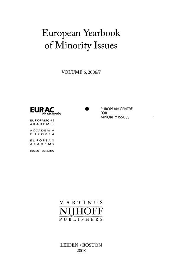 handle is hein.intyb/euybmis0006 and id is 1 raw text is: European Yearbook