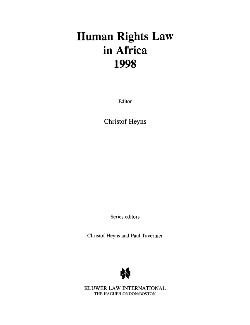 handle is hein.intyb/humrafr1998 and id is 1 raw text is: Human Rights Law