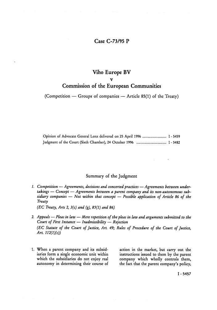 Viho Europe Bv V Commission Of The European Communities Case C 7395