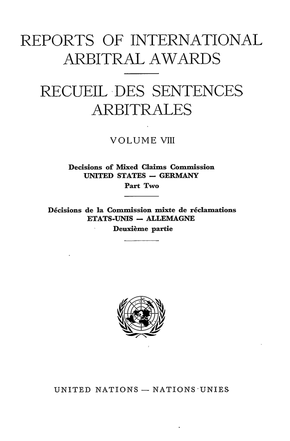 handle is hein.intyb/riaa0008 and id is 1 raw text is: REPORTS OF INTERNATIONAL