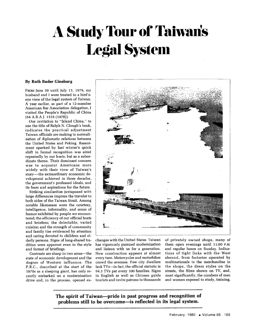 A Study Tour of Taiwan's Legal System 66 American Bar