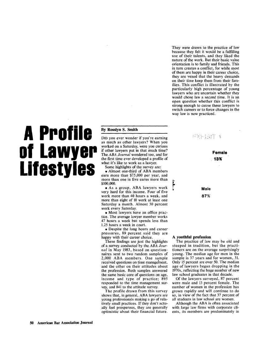 A Profile of Lawyer Lifestyles 70 ABA Journal 1984