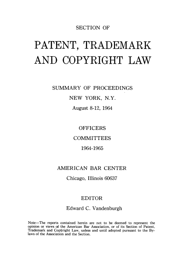 handle is hein.journals/abasptcpro1964 and id is 1 raw text is: SECTION OF