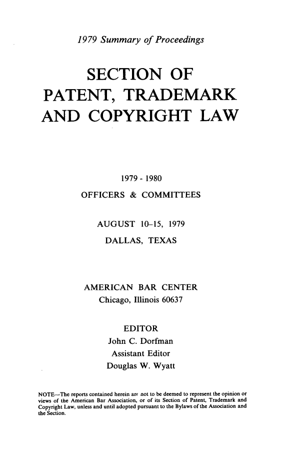 handle is hein.journals/abasptcpro1979 and id is 1 raw text is: 1979 Summary of Proceedings