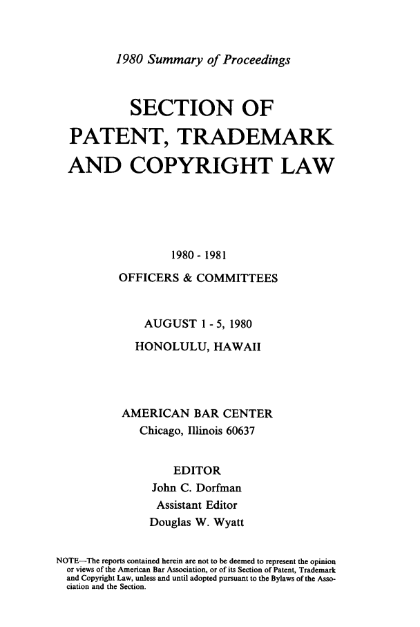 handle is hein.journals/abasptcpro1980 and id is 1 raw text is: 1980 Summary of Proceedings