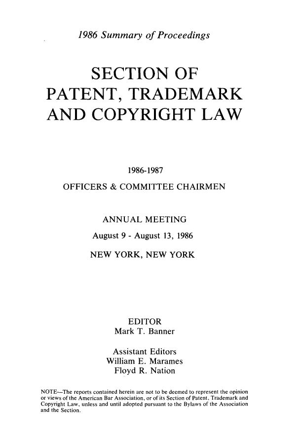 handle is hein.journals/abasptcpro1986 and id is 1 raw text is: 1986 Summary of Proceedings