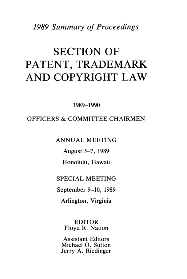 handle is hein.journals/abasptcpro1989 and id is 1 raw text is: 1989 Summary of Proceedings