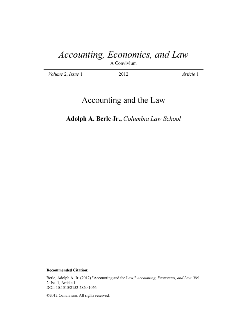 Accounting, Economics, and Law: A Convivium V  2