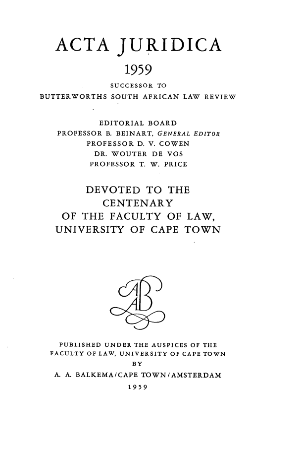 handle is hein.journals/actj1959 and id is 1 raw text is: ACTA JURIDICA