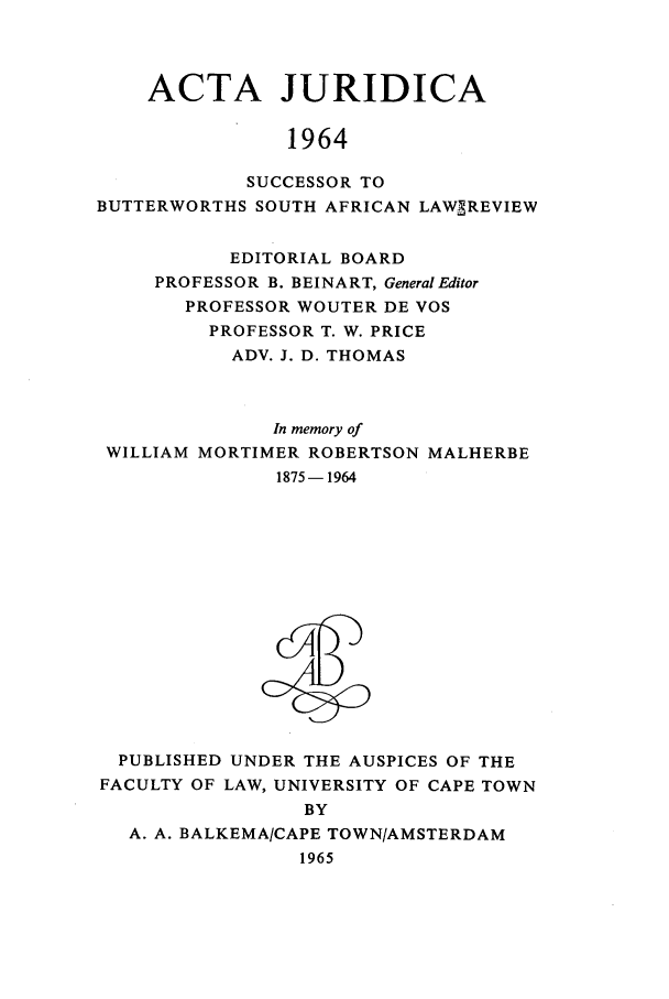 handle is hein.journals/actj1964 and id is 1 raw text is: ACTA JURIDICA