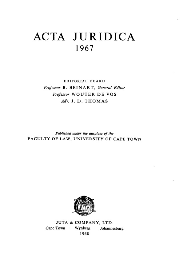 handle is hein.journals/actj1967 and id is 1 raw text is: ACTA JURIDICA